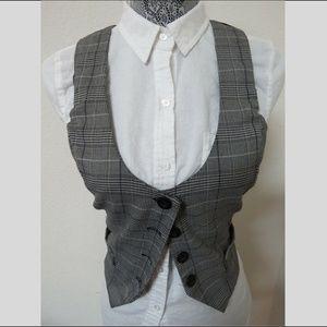 Sz S Gray/Purple Plaid Juniors #61E Suit Vest